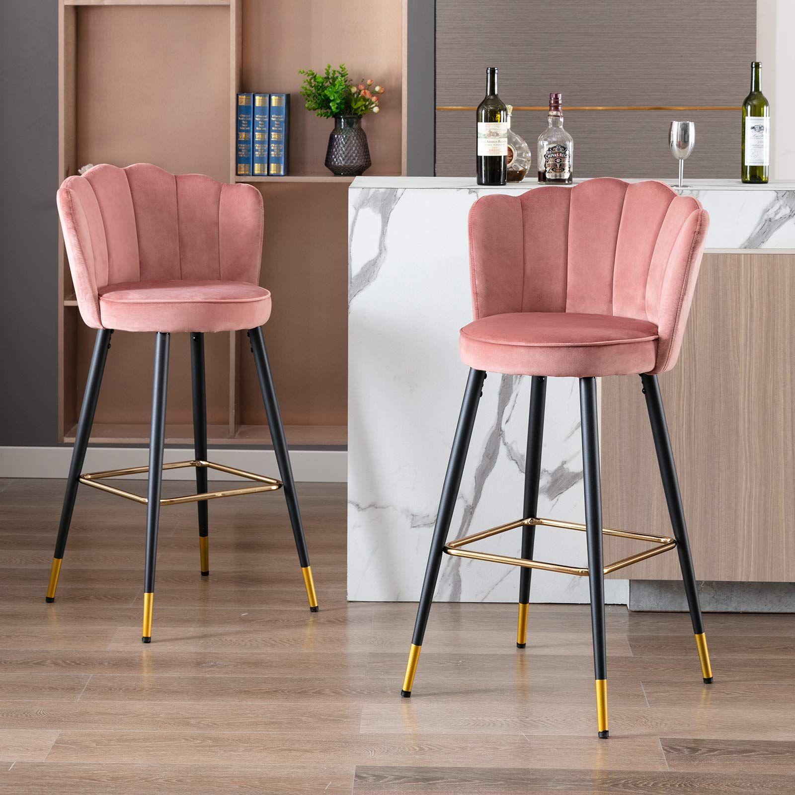 Wahson Velvet Bar Stools Kitchen Counter Stools Set of 9 Bar ...