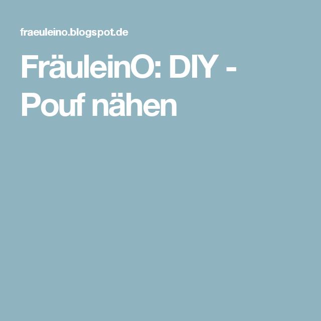 FräuleinO: DIY - Pouf nähen