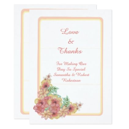 Pastel Pink Floral Wedding Thank You Card Thank You Gifts Ideas