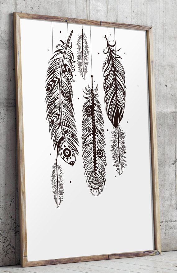 Wall Decorations Boho : Bohemian wall art feather by