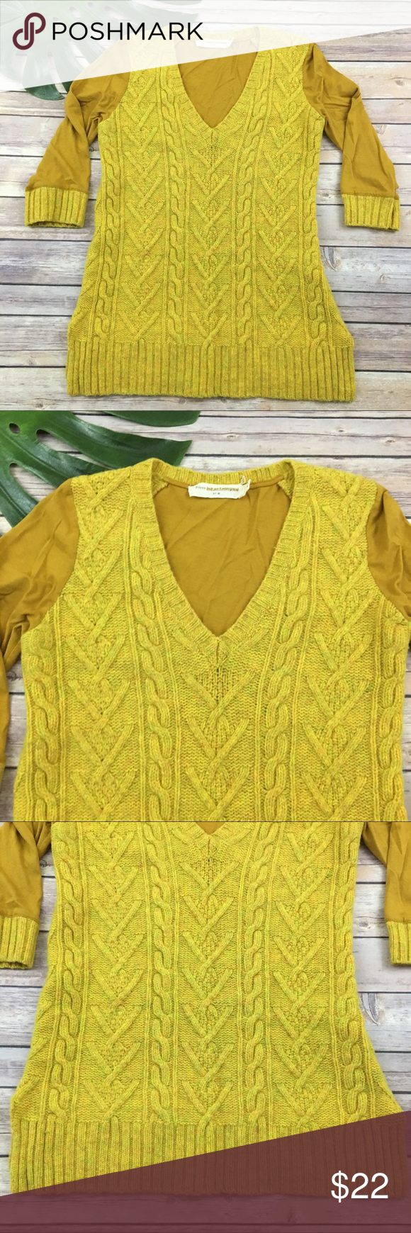 Pilcro mustard yellow cable knit sweater | Cable knit sweaters ...