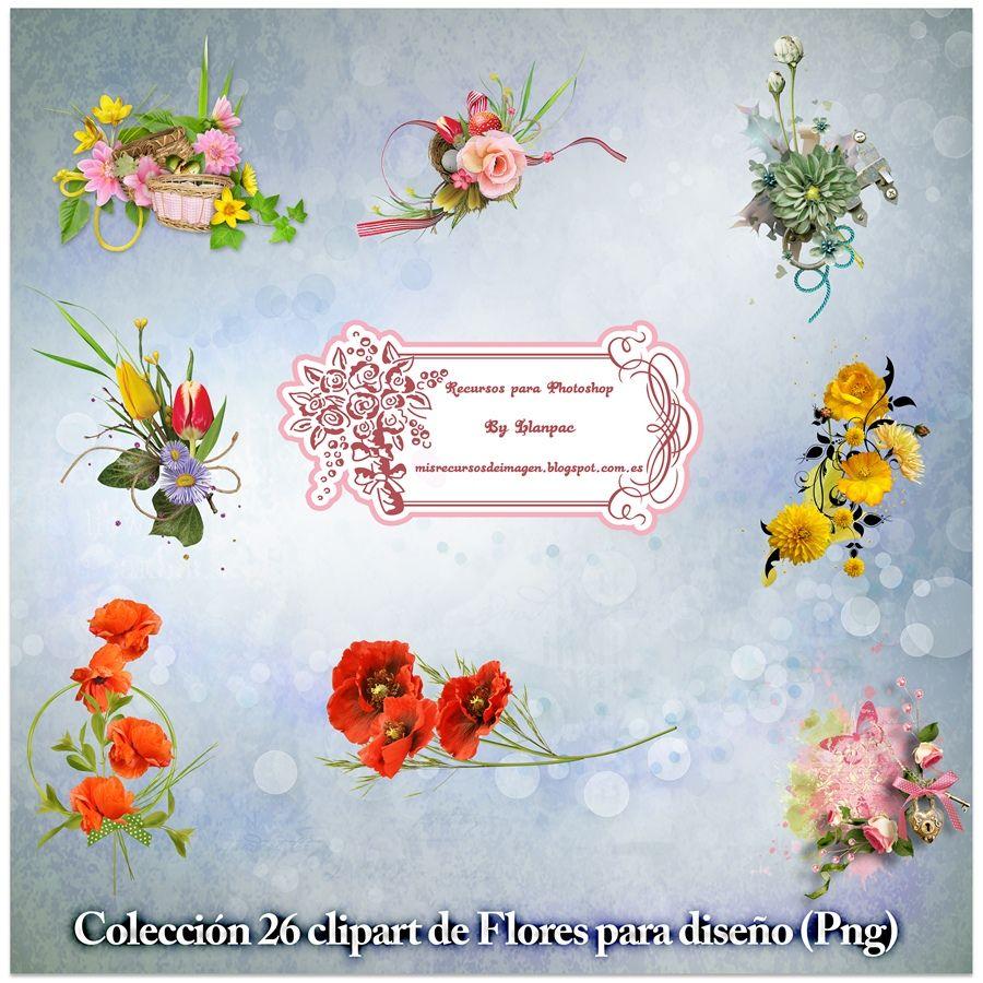 Recursos Photoshop Llanpac: Colección de 26 clipart de flores para diseño (Png...