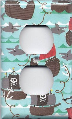 Pirate Ships and Sharks Carribean Ocean Waves Boys Room Switchplates & Outlets