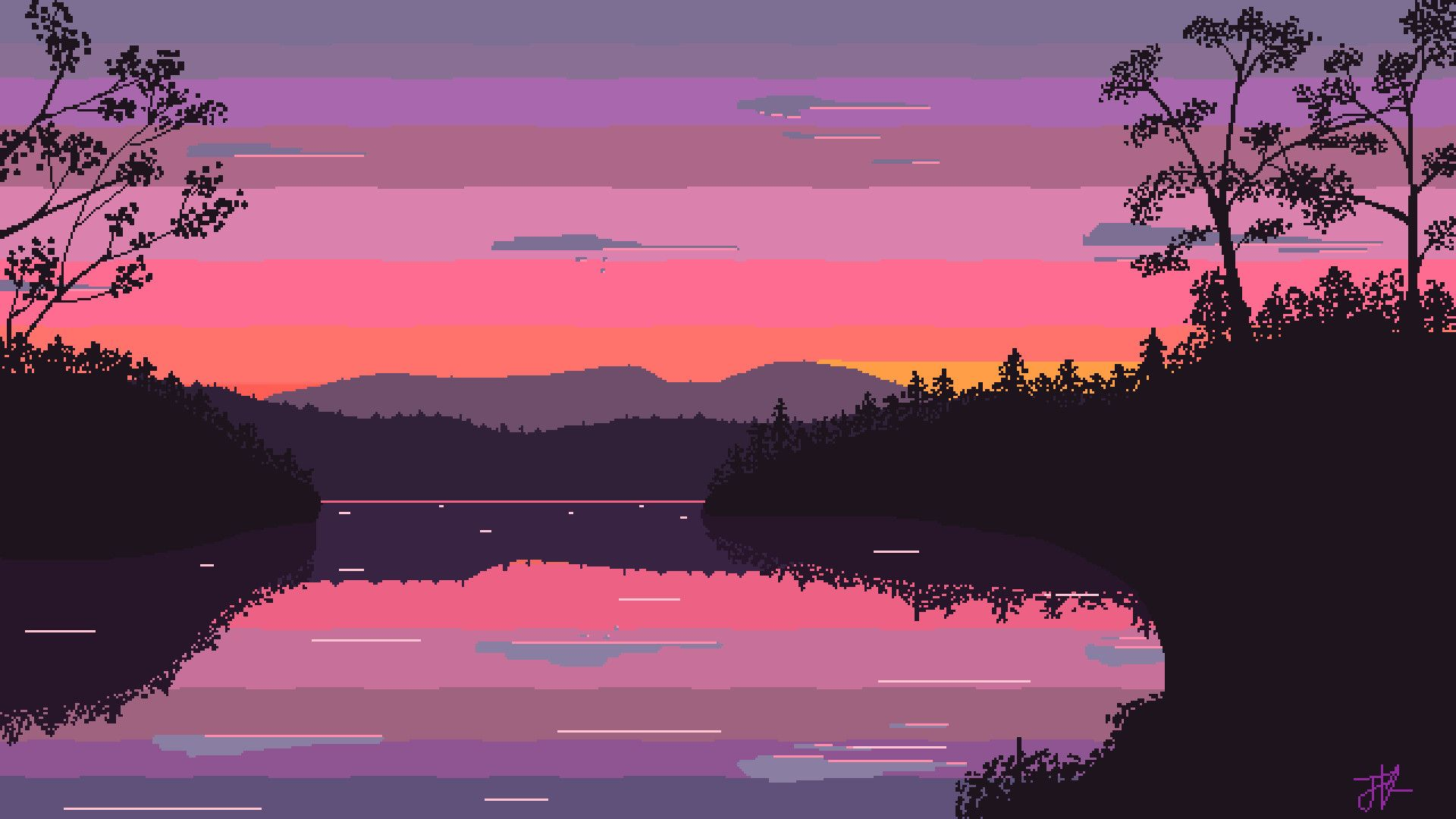 1920x1080 Morning Lake Pixel Art 1920x1080 Need Iphone 6s Plus Wallpaper Pixel Art Landscape Pixel Art Background Desktop Wallpaper Art