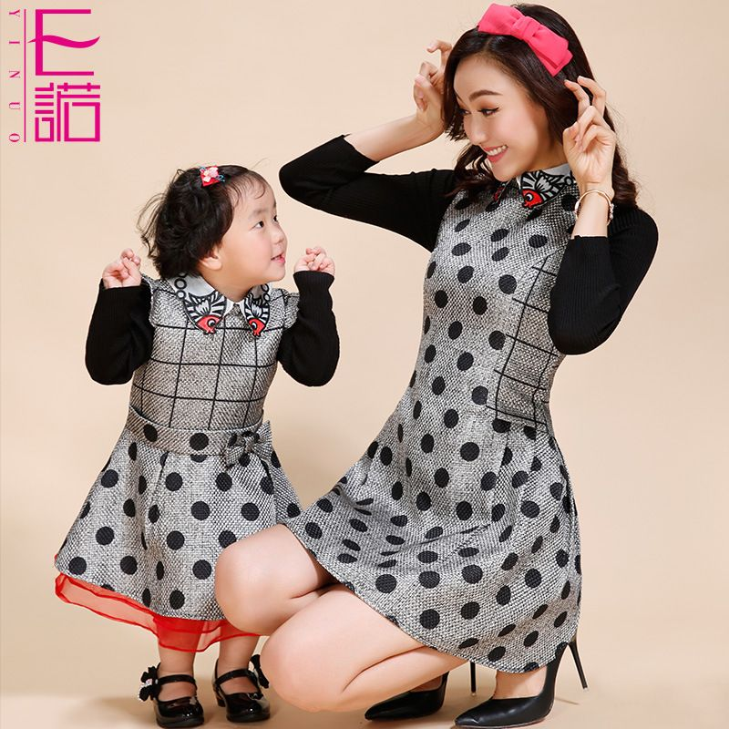 18a6d8d4f6b Mother Daughter Outfits Mom And Daughter Dresses Children Autumn Winter New  Korean Wave Mosaic Thin Long Sleeved Dress Fashion(China (Mainland))