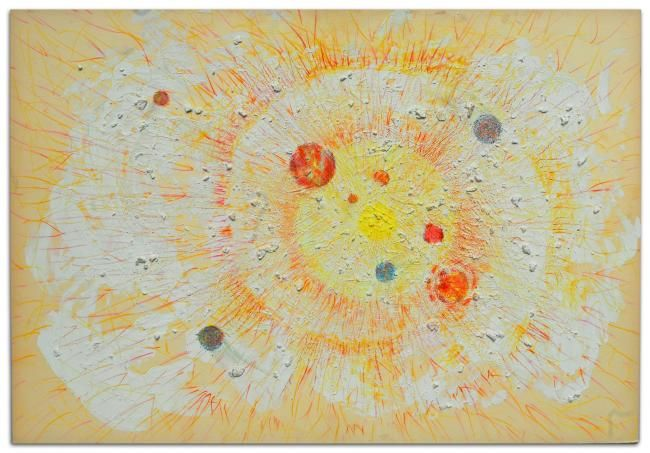Solar_System_ 2006_Materials: vegetable cardboard, acrylic, colored pencils
