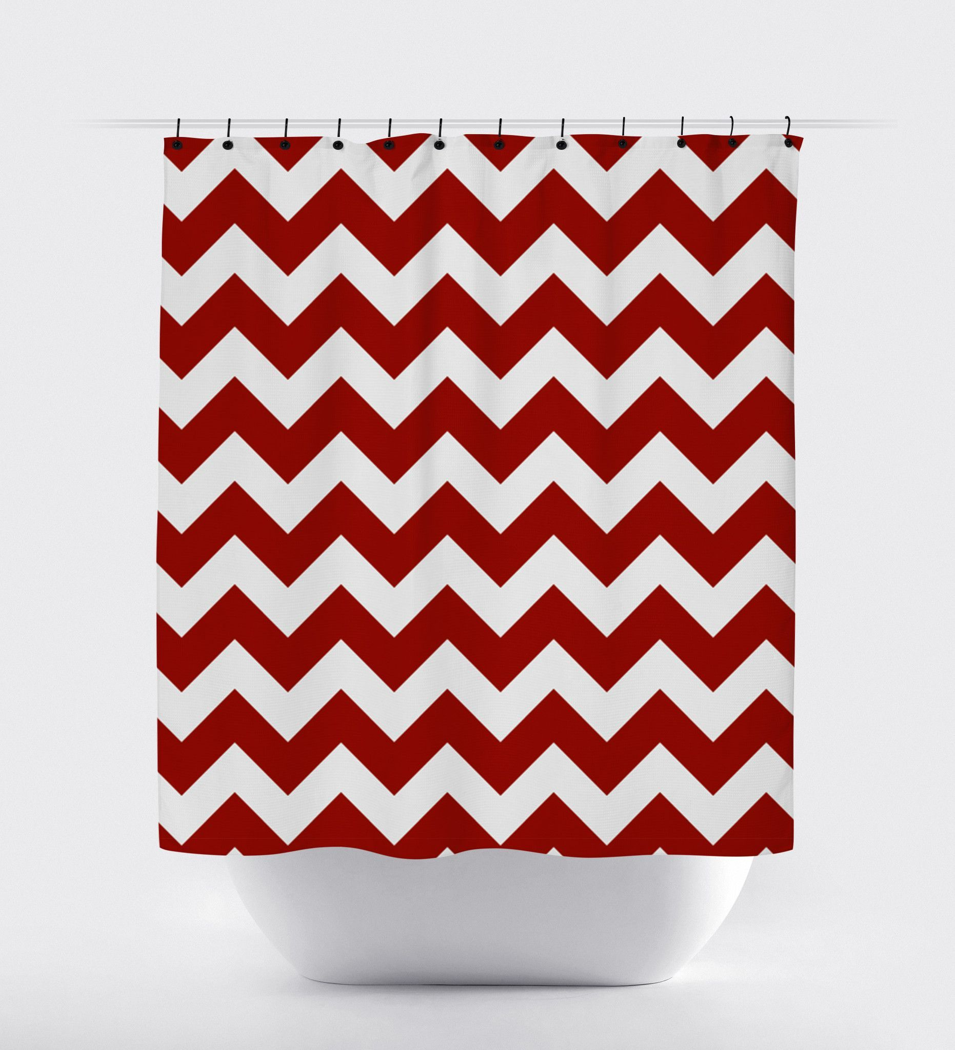 Red grey chevron shower curtain - Red Chevron Shower Curtain