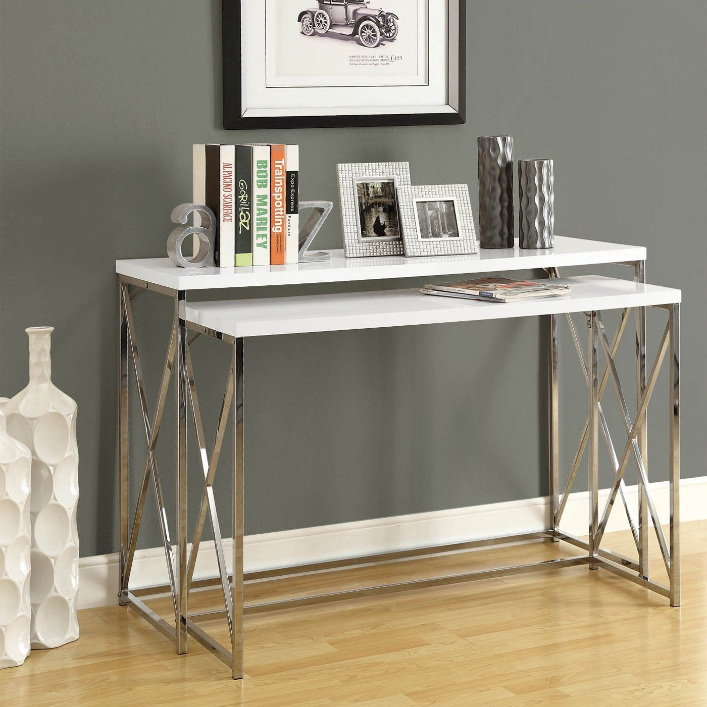 monarch glossy white and chrome  piece console table set  i . monarch specialties i  two piece nesting console table set