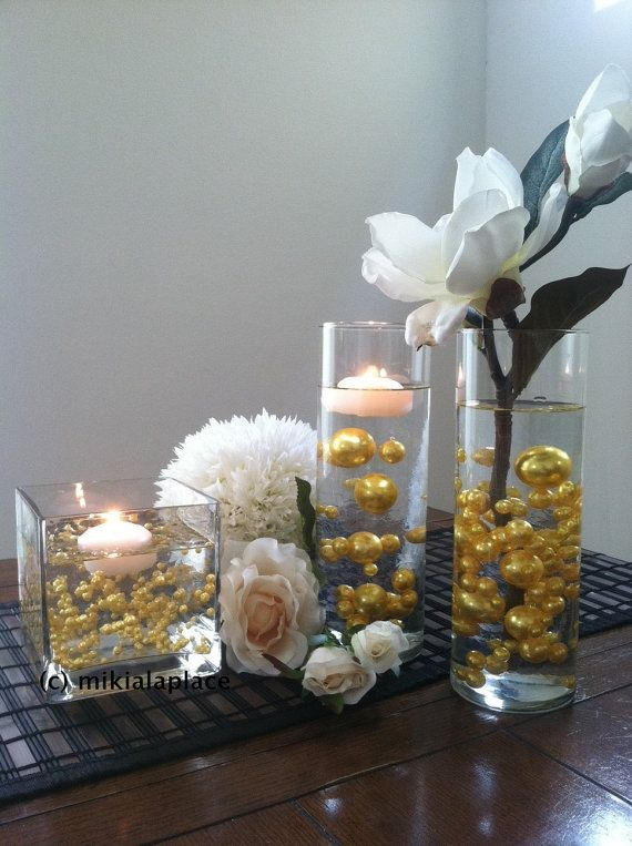 Gold Jumbo Pearls Table Confetti Mix Sizes 5 6 7 8 9 10 14 18 24 30 For Wedding Home Decors