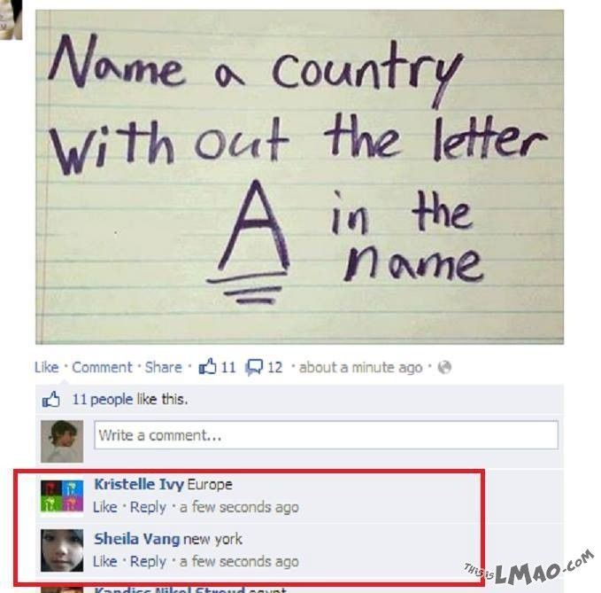 ROFL, this is funny Country without the letter A | #country, #a