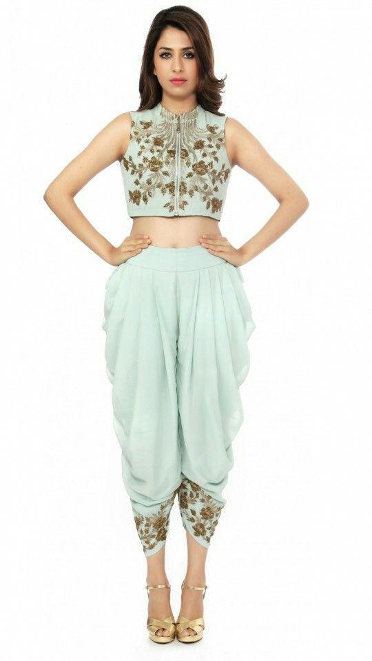 94e24cdfa Dhoti pants & crop top or saree blouse | traditional dresses in 2019 ...