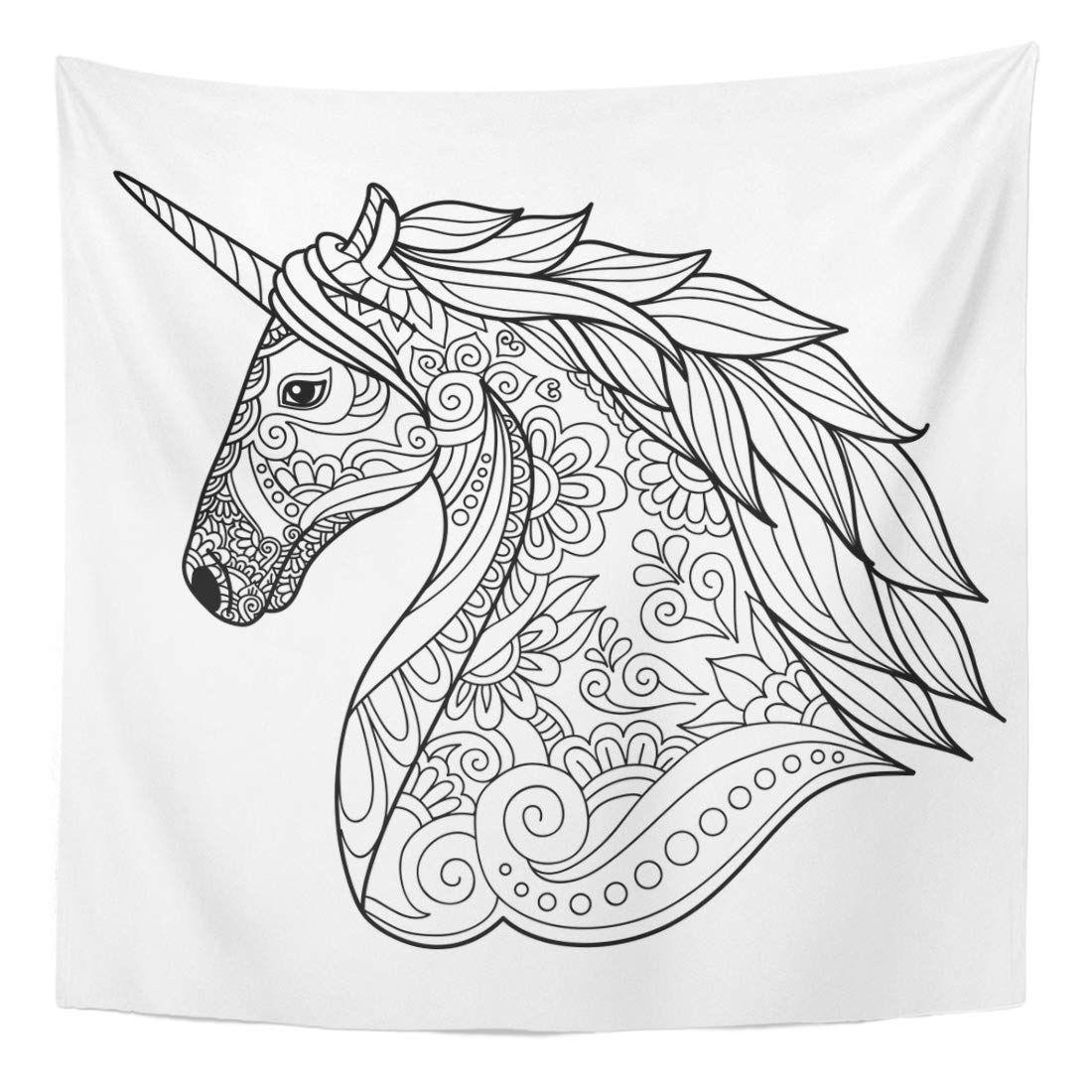 Drawing Unicorn Zentangle For Coloring Book Tattoo Sign Wall Art Hanging Tapestry 60x80 Inch Dibujos Para Colorear Adultos Dibujos De Unicornios Arte De Unicornio [ 1100 x 1100 Pixel ]