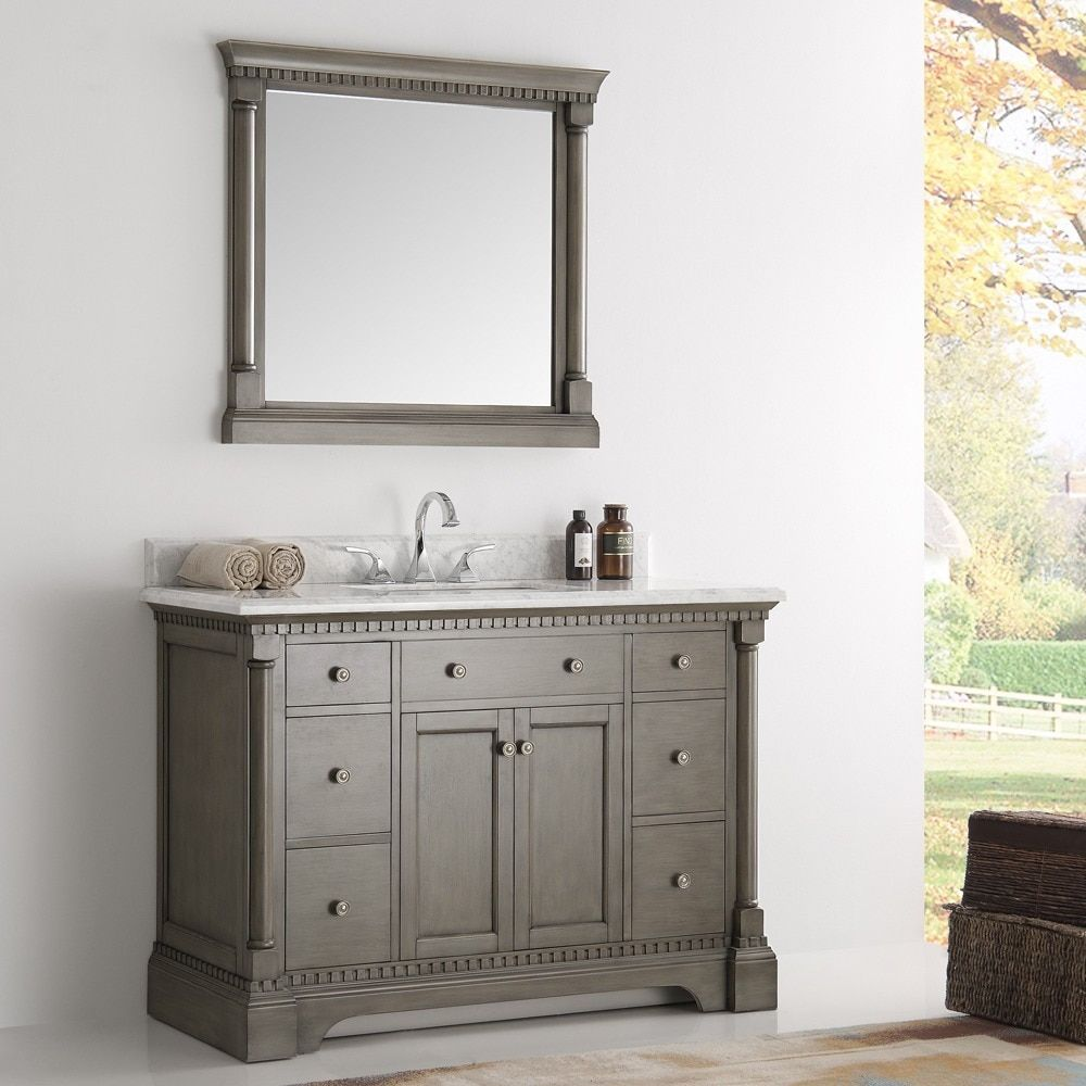 Gallery For Photographers Fresca Kingston Antique Silver Traditional Bathroom Vanity with Mirror