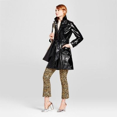 Women's Patent Trench Jacket - Who What Wear Black M