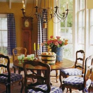 French Country Dining Room Ideas With Mustard And Gold And Yellow Walls And  Blue Checked Curtains And Chair Cushions , French Country Dining Room  Decorating ...
