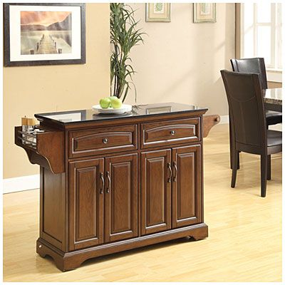 Cherry Finish Kitchen Cart with Marble Top at Big Lots. - $299.99 ...