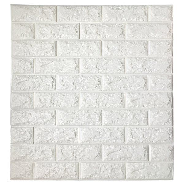 Liljenquist 3d Embossed Paintable Peel And Stick Wallpaper Panel White Brick Wallpaper Brick Wallpaper 3d Wall Panels