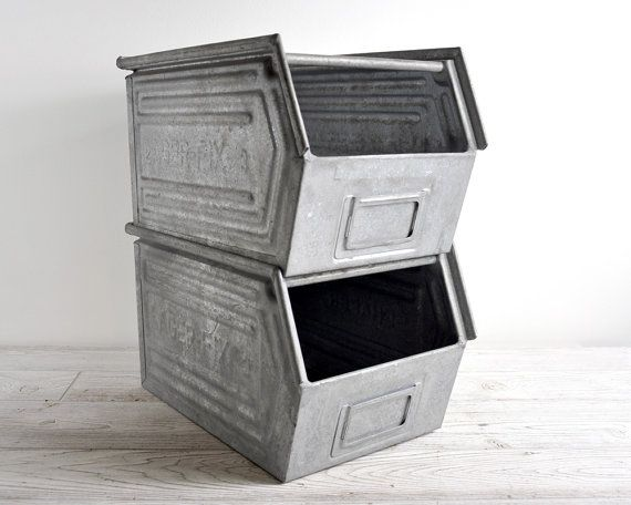 vintage stackable metal storage bin industrial storage home projects metal storage bins. Black Bedroom Furniture Sets. Home Design Ideas