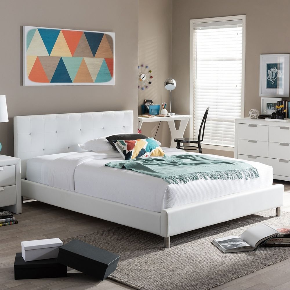 White Platform Bed Frame Full Faux Leather Upholstered