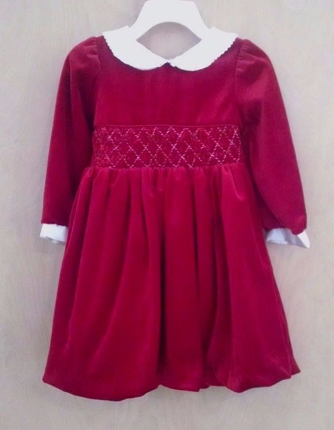 cc62e5b09b3c Little Bitty Toddler Girls Christmas Dress 2T Red Stretchy Velvet ...
