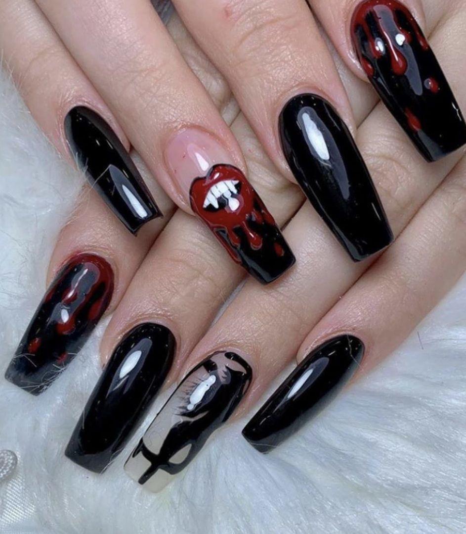 Shellac nail art. Polka dot nail design. Winter nails   My