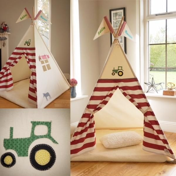 Childu0027s Teepee tent with Appliqued Tractor Design and striped doors. This tent is sure to delight any child who loves Farming or Tractors. The tent can be ... & Tractor Teepee with striped doors and Tractor / Donkey Appliques ...
