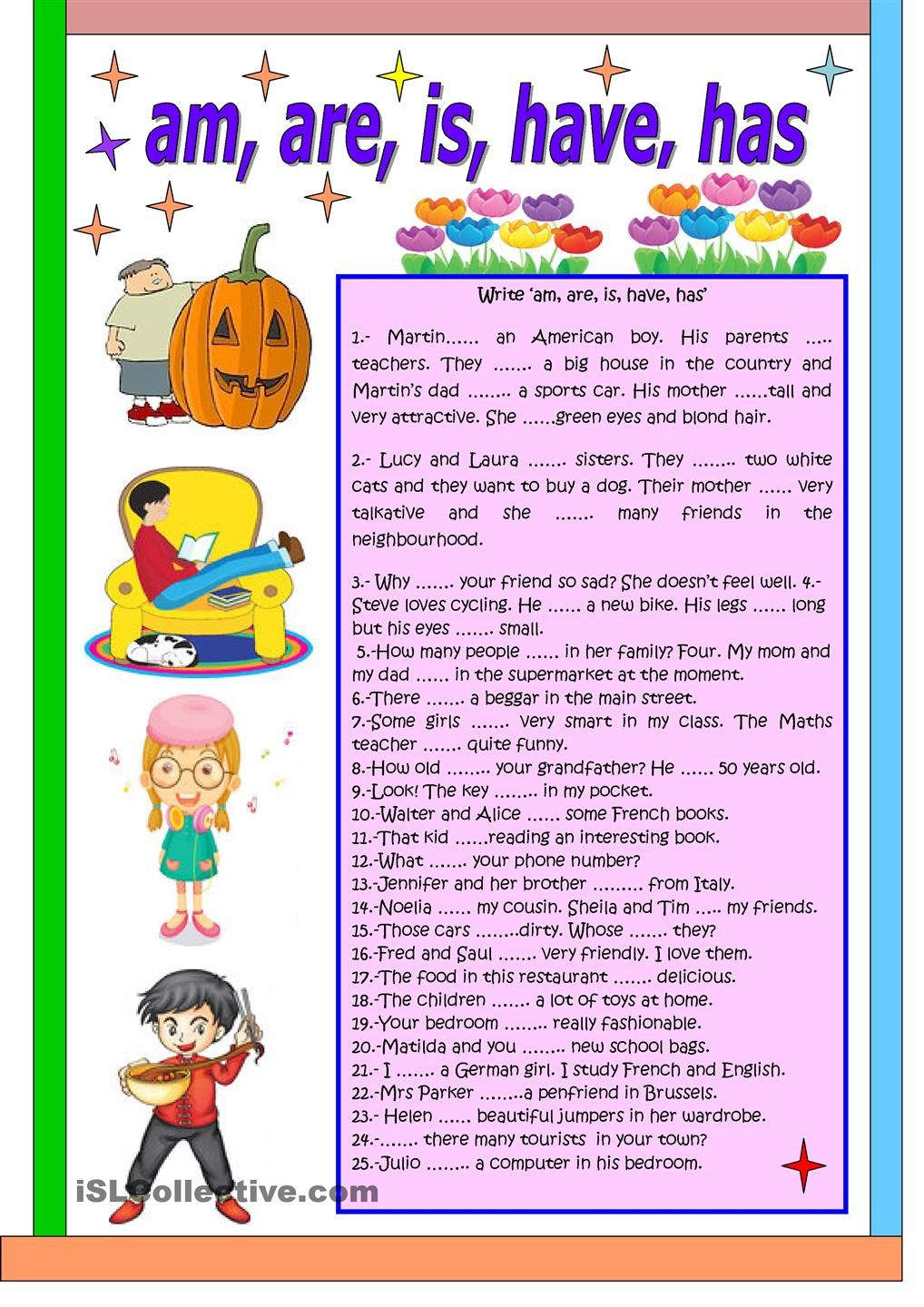 Uncategorized Has And Have Worksheets am are is have has english for kids pinterest has