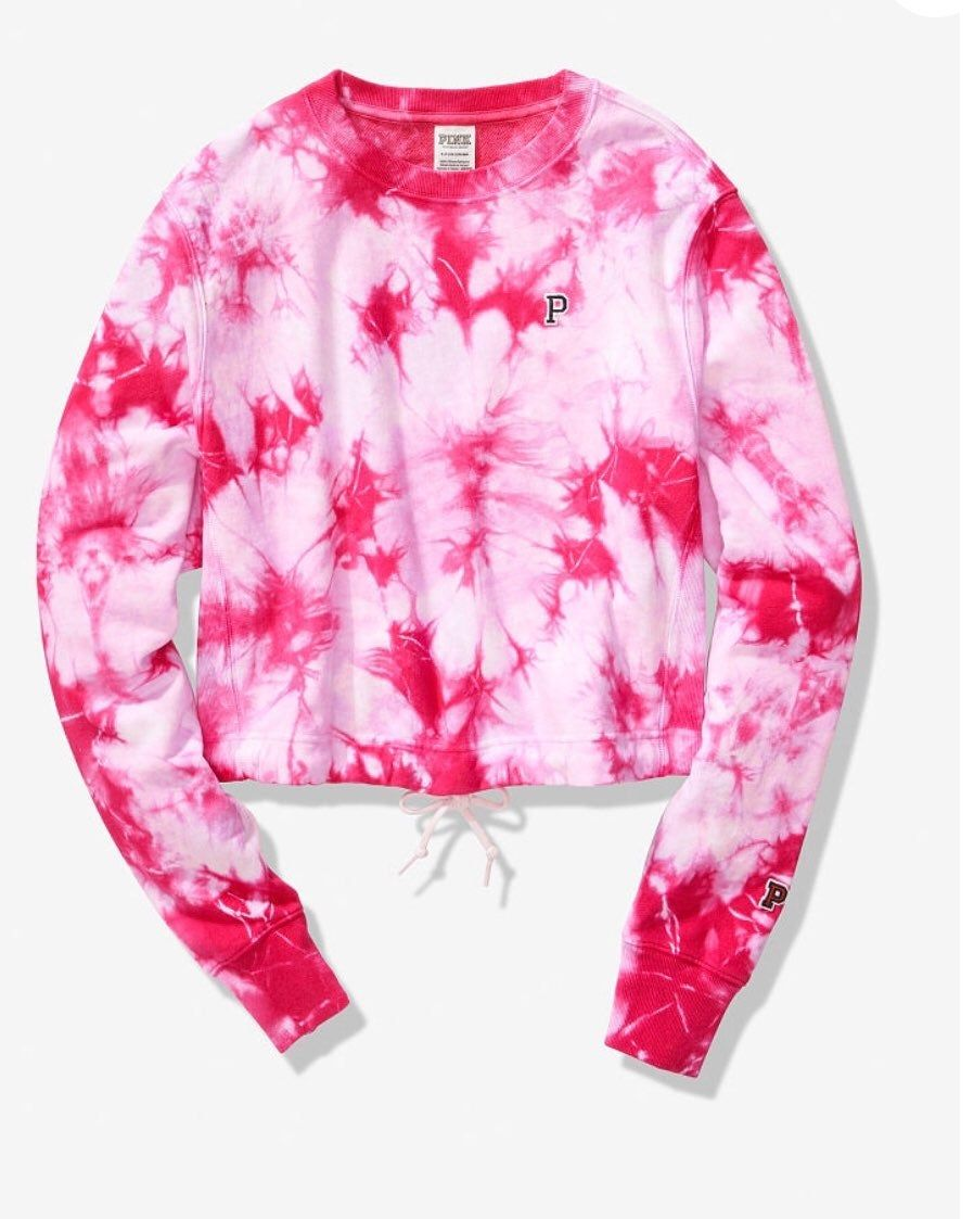 Brand New Victoria S Secret Cropped College Tie Dyed Sweatshirt Size Medium Check Out My Other Listings I Do Have The Blue Tie Sweatshirts Blue Tie Dye Pink [ 1123 x 898 Pixel ]