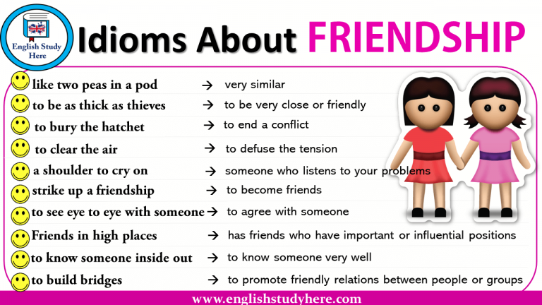list of idioms for friends