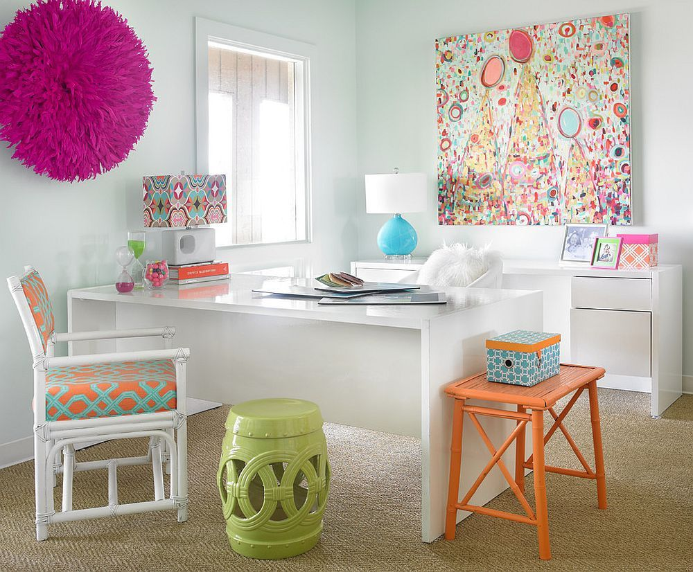 colorful office decor. 20 Ways To Decorate Home Office In White Colorful Decor F