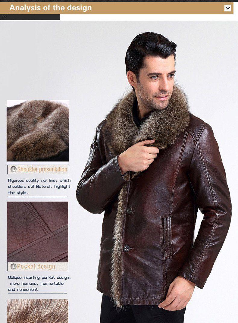 Winter Leather Jacket Men Fashion Men's Brown Fur Coats
