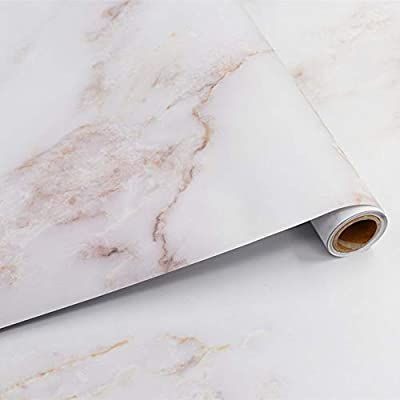 "11.8""x120"" Marble Contact Paper White Peel and"
