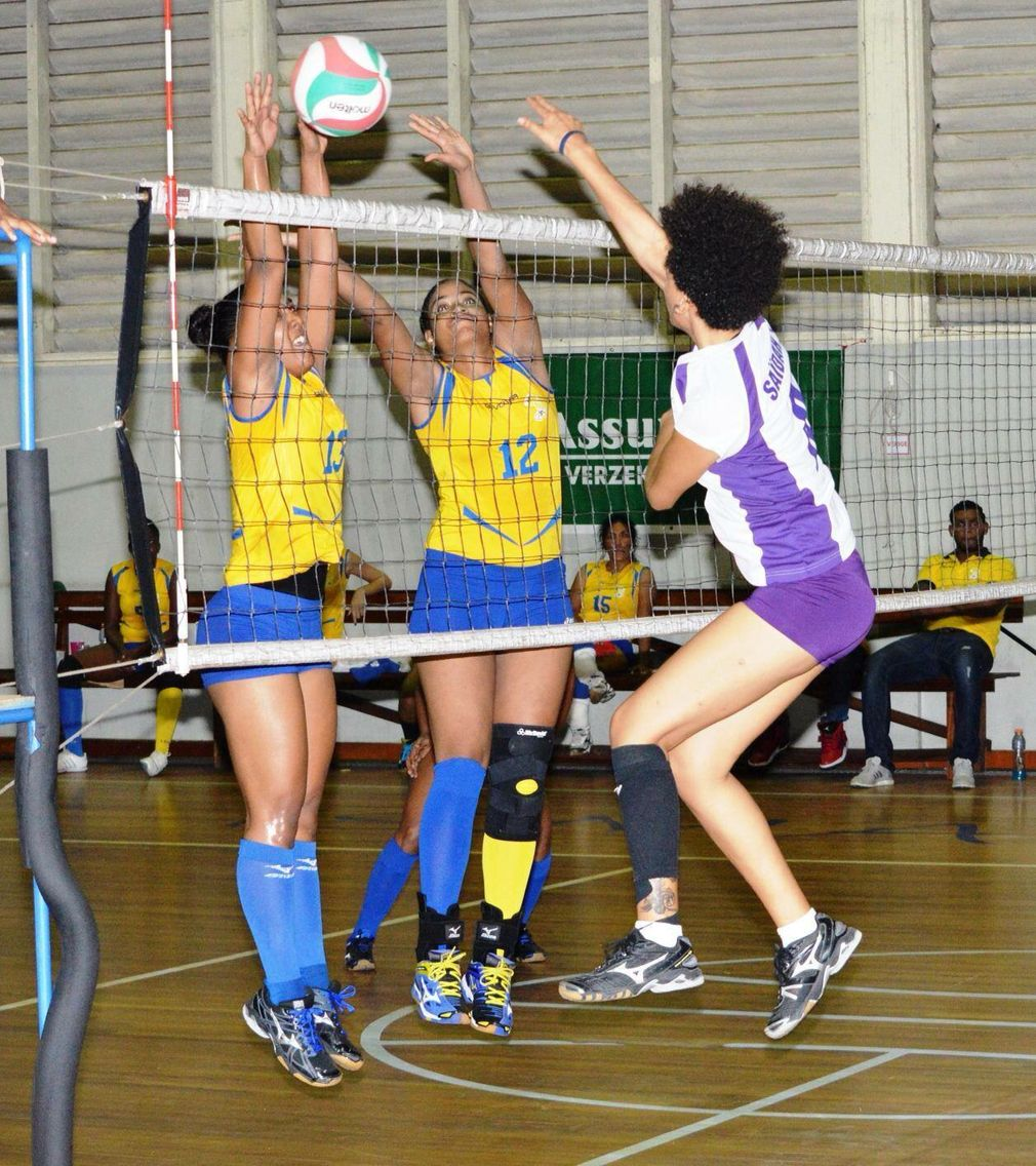 Defense Moment Caught In The Match Yellow Birds Vs Yelyco Volleyball Suriname Volleyball Match Volley