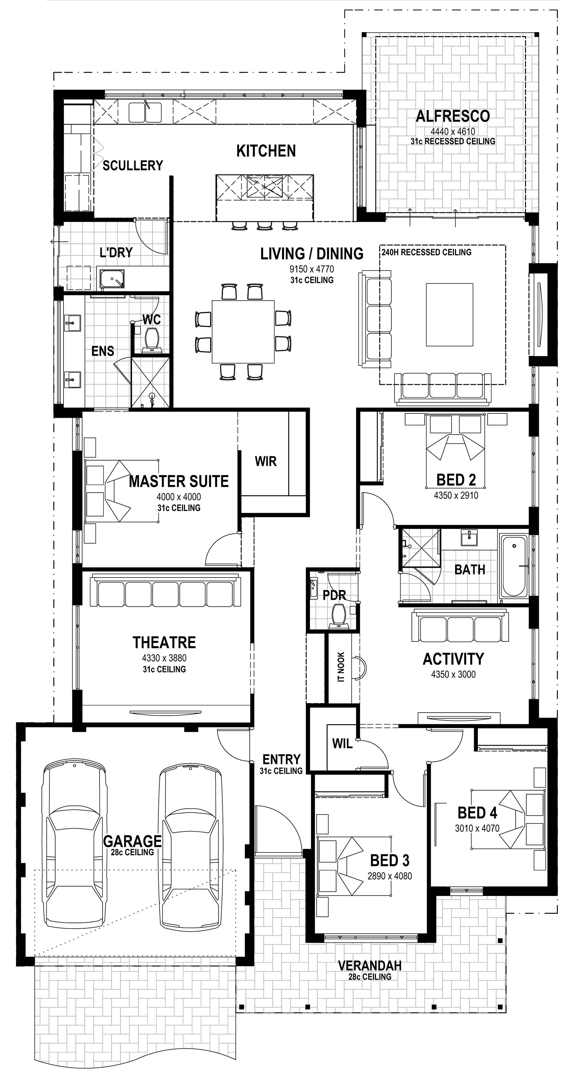 5 master bedroom house plans  Orchard  South West  Lot  Pascoe Way floorplan  house plans