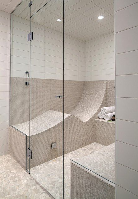 Steam shower with a curved lounge seat #LoveYourHome | Bathroom ...