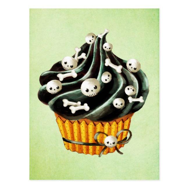 Photo of Black Halloween Cupcake with tiny skulls Postcard   Zazzle.com
