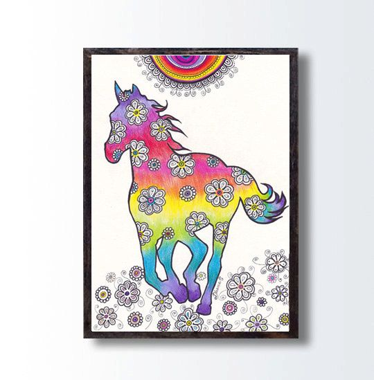 Instant Digital Download PRINT Horse Drawing, Rainbow Colors Animal Wall  Decor, Kids Nursery Children Room Wall Art Decor, Printable Art
