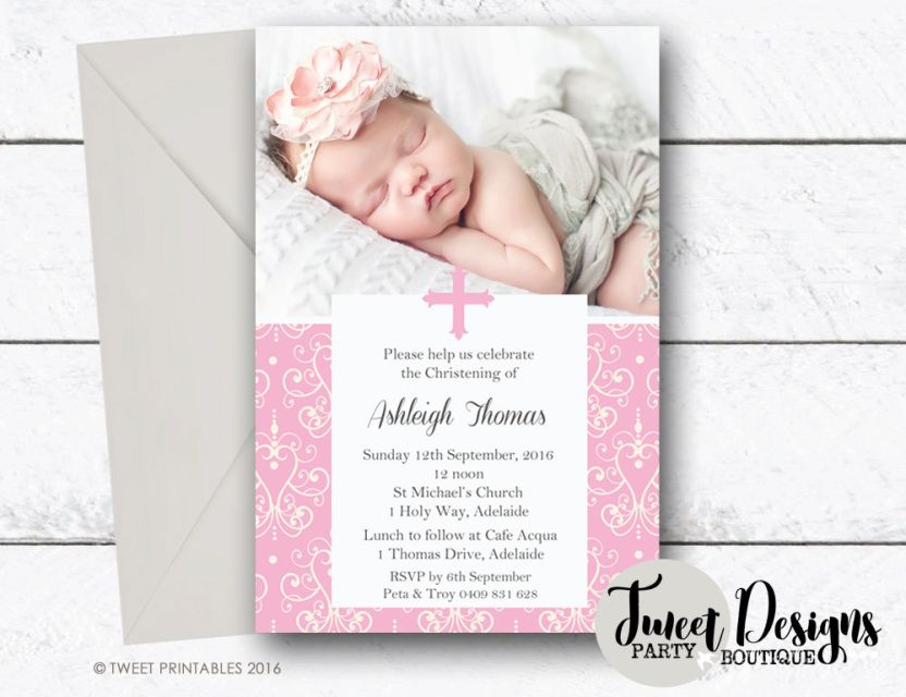 Pink Damask Christening Invitations Baptism Invitation Print Yourself Printable Naming Day