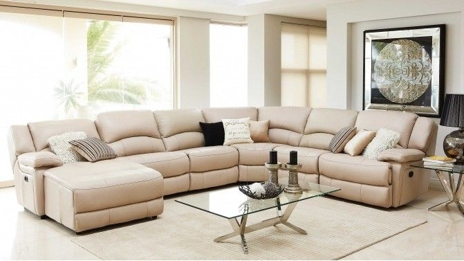 Almere Leather Powered Recliner Corner Lounge With Chaise Lounge Suites Living Room Spaces Lounge Furniture