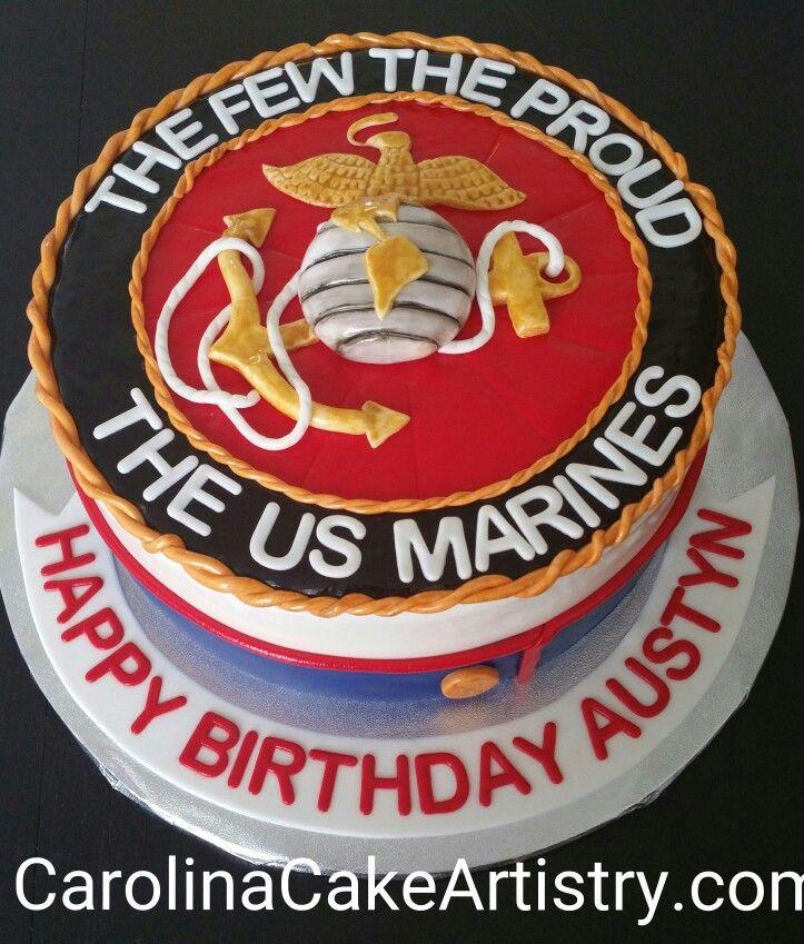 Awesome All Edible Us Marines Cake Happy Birthday Austyn Marine Cake Personalised Birthday Cards Akebfashionlily Jamesorg