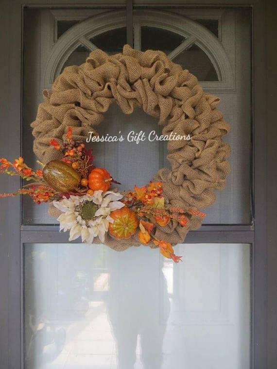 Made To Order Fall Burlap Wreath/Pumpkin Decor/Autumn Wreath/Seasonal Wreath /