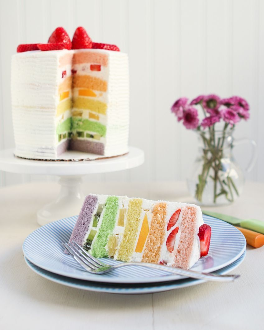 Chinese bakery rainbow cake thirsty for tea fluffy