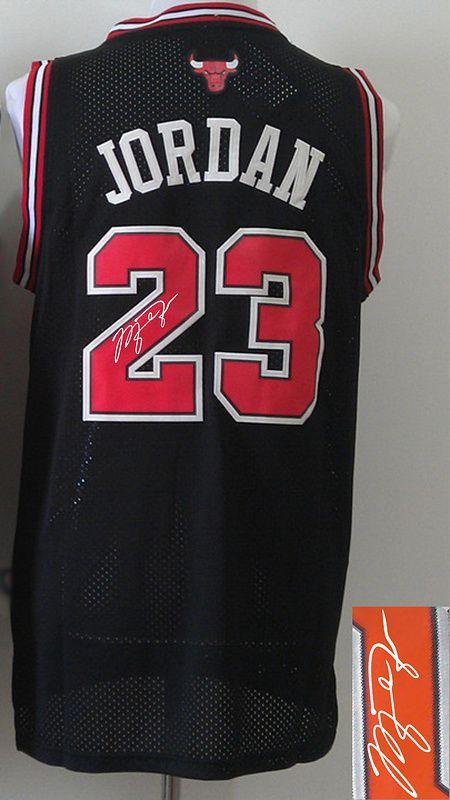 Men's NBA Chicago Bulls #23 Michael Jordan Black Signature Jersey