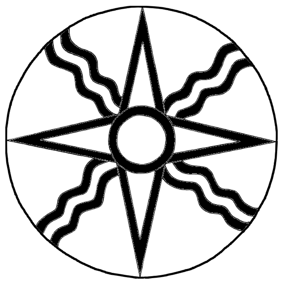 Form Of The Ancient Symbol Of The Mesopotamian Sun God Shamash With