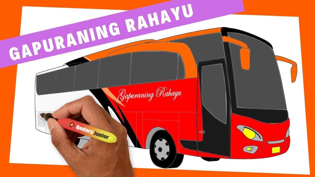 Cara Menggambar Bus & Mewarnai Bus