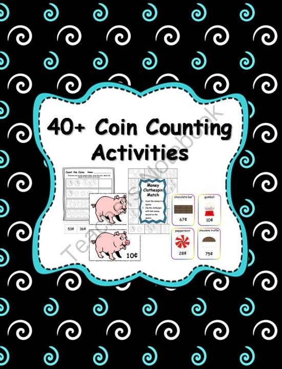 40 coin counting money activities from klever kiddos on 82 pages free. Black Bedroom Furniture Sets. Home Design Ideas