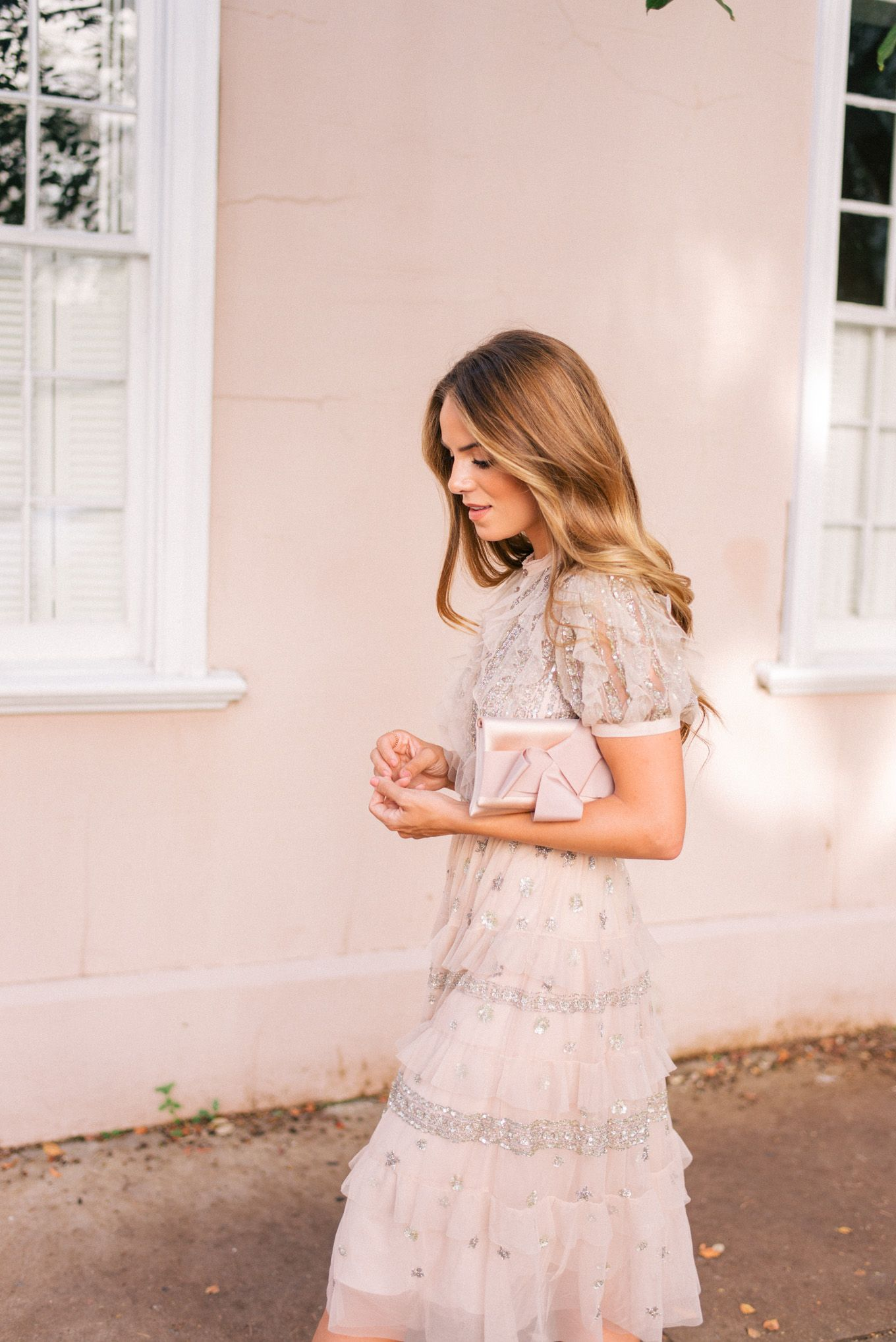 Pale pink dress for wedding guest  Gal Meets Glam Dressed Needle u Thread Dress Gianvito Rossi pumps