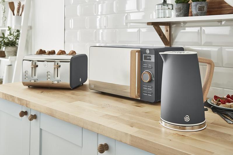 Download Wallpaper White Kitchen Microwave Set