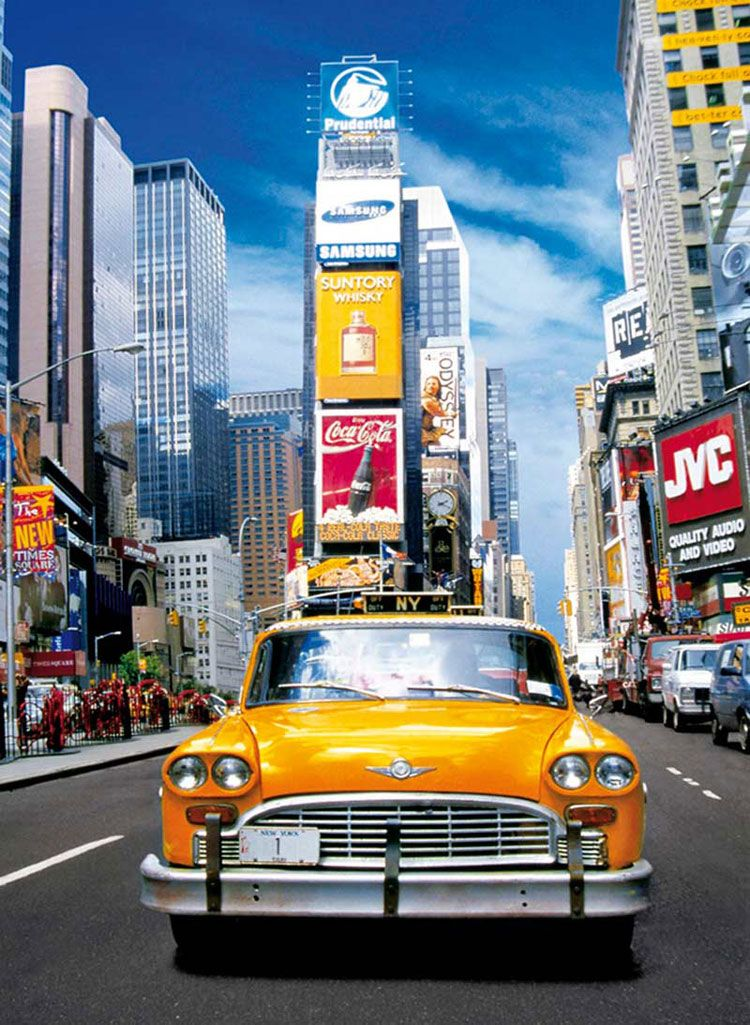 Taxi In Times Square 500 Pieces Clementoni Puzzle Warehouse New York Taxi Vintage Wallpaper Cute Love Wallpapers
