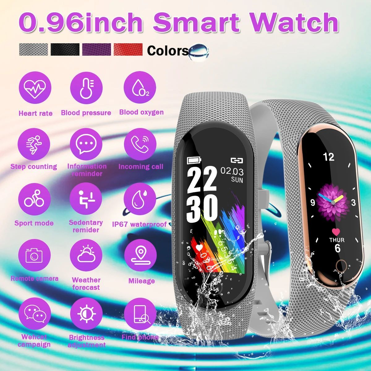 Ik08 Color Touch Screen Smart Watch Ip67 Waterproof Spo2 Hear Rate Monitor Weather Forecast Fitness